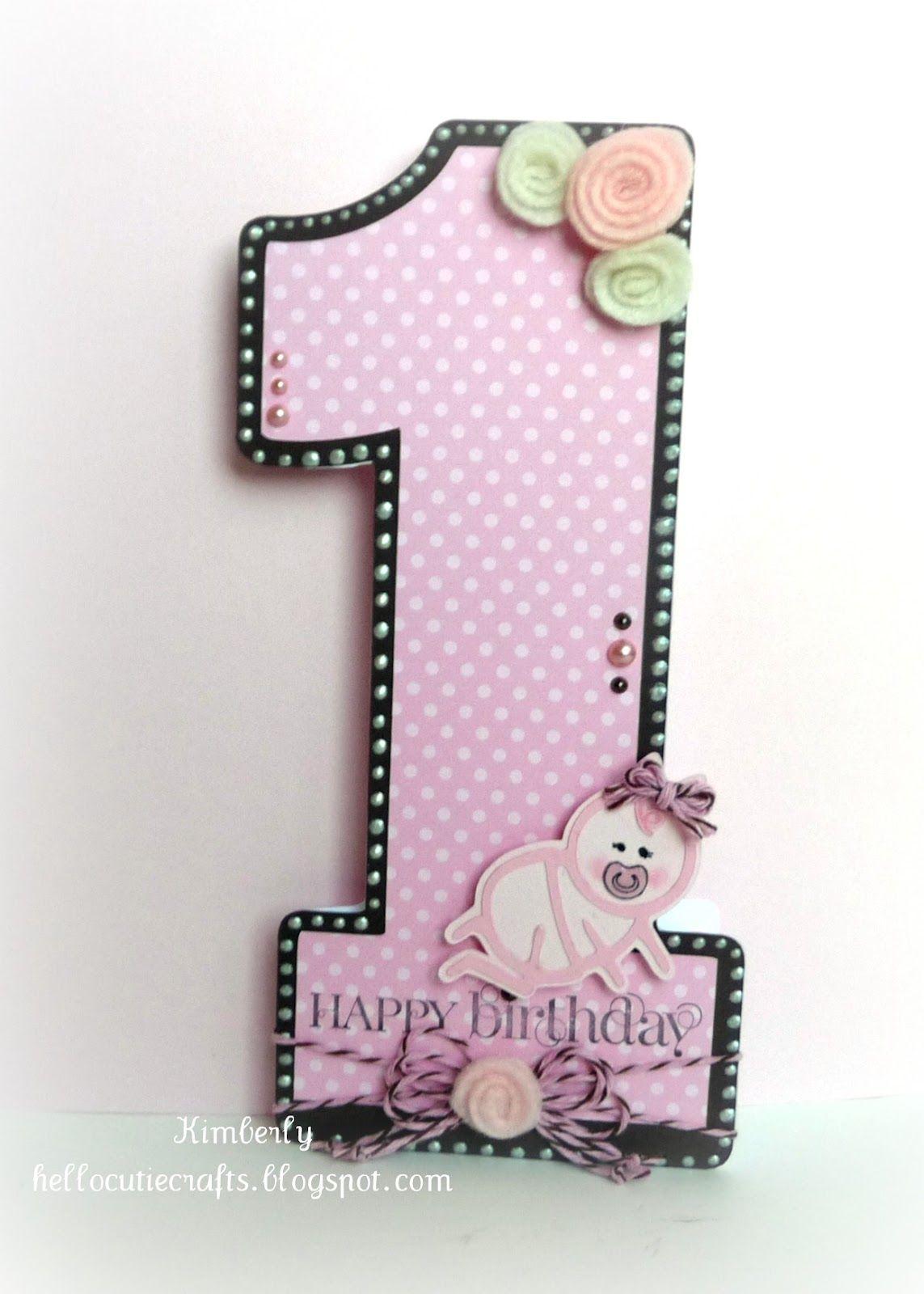 Kimberly S Crafty Spot Happy 1st Birthday Birthday Sundaes Challenges First Birthday Cards Baby Birthday Card Birthday Card Craft