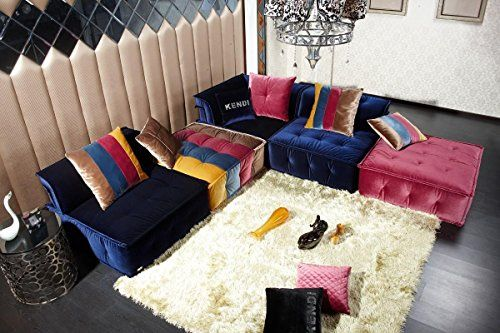 Divani Casa Dubai   Contemporary Fabric Sectional Sofa Multi Color/Multi  Color
