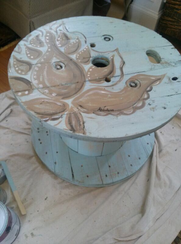 The Painted Hammer blog | upcycled electrical reel: table! | wooden ...