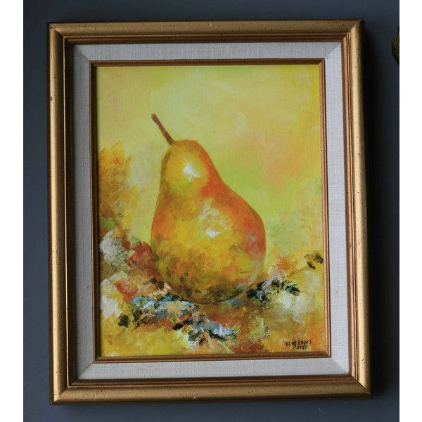 Acrylic pear fruit painting 10x8 original country kitchen wall decor ...