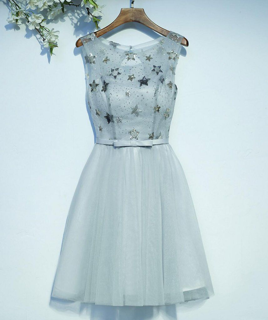 Gray sequin open back homecoming prom dresses affordable corset