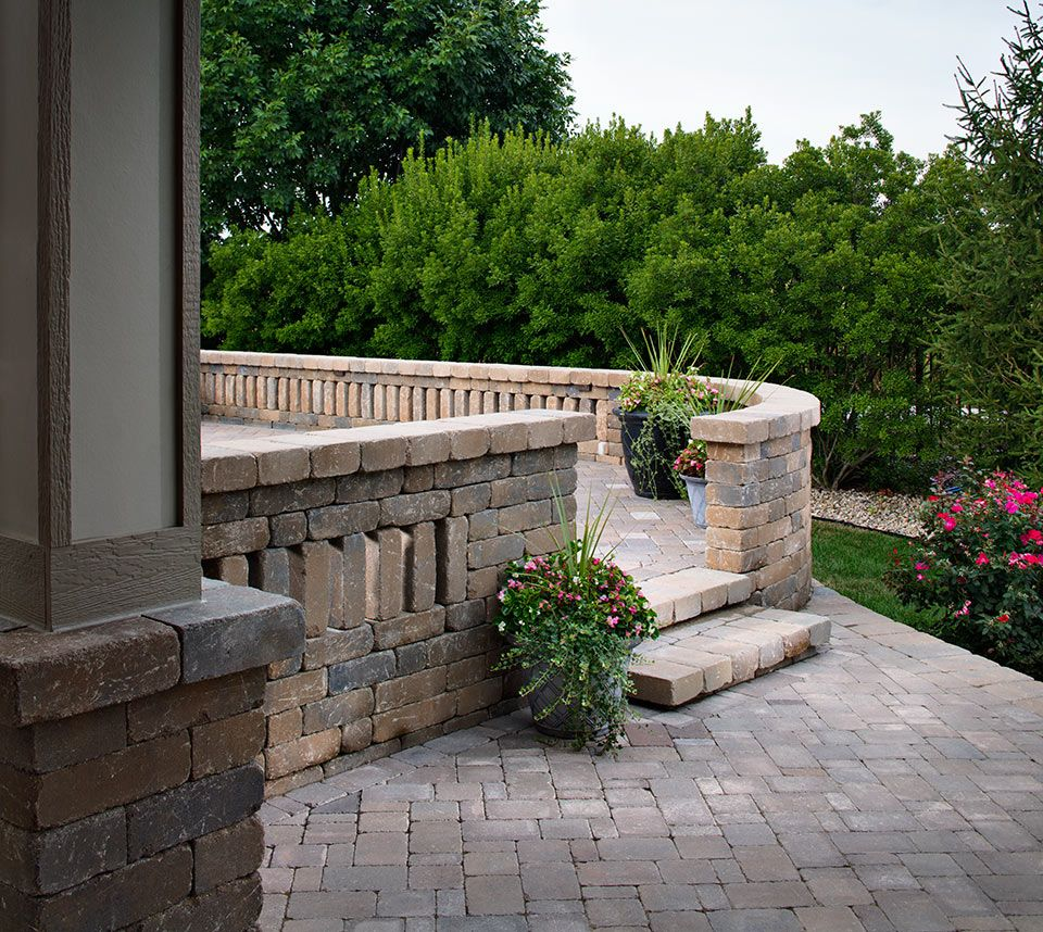 Pavers walls patios steps grey tan beige dublin for Patio inspiration ideas