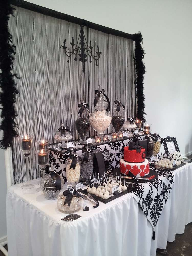 Black And White With A Touch Of Red Lolly Buffet Birthday