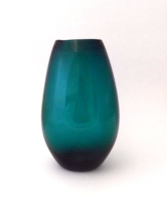 WMF Wilhelm Wagenfeld 1950s -- large turquoise art glass vase -- German art glass