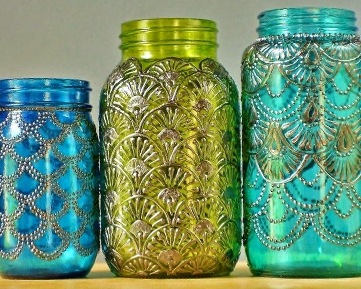 Puffy paint designs - Puffy Paint In Intricate Designs On Tinted Mason Jars Source Site Is In Hungarian