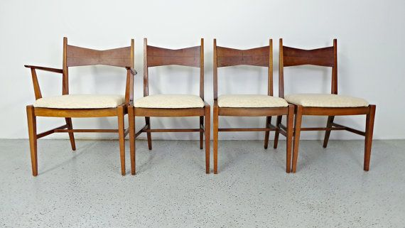 Cool Sale Set 4 Rare Mid Century Modern Lane Tuxedo Walnut Bralicious Painted Fabric Chair Ideas Braliciousco