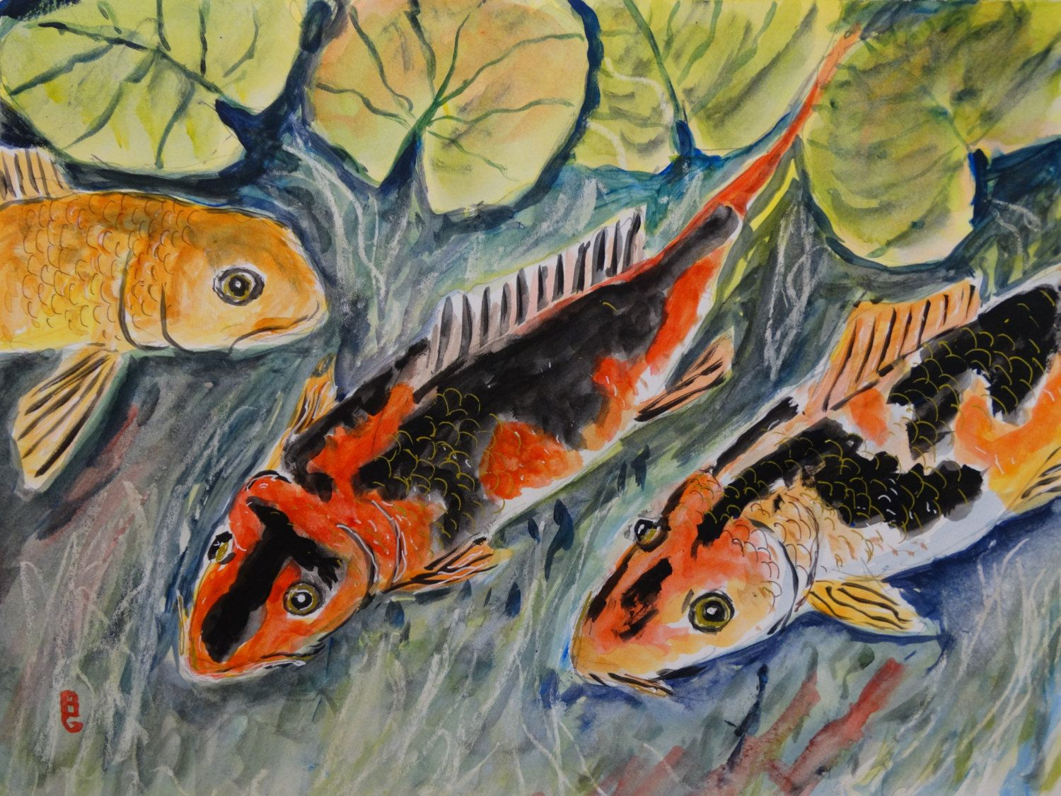 Koi pond original watercolor fish painting fish art for Original koi fish