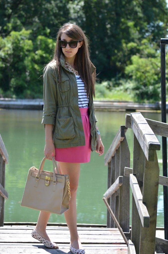 Pink skirt + striped tee + olive jacket.