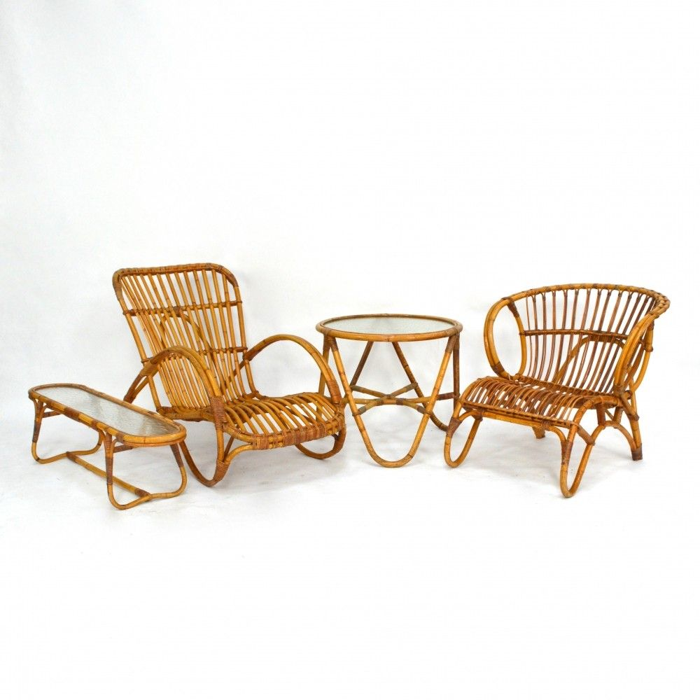 Rohe Rattan Garden Lounge Set 1950s Bamboo Chair Rattan Outdoor Chairs