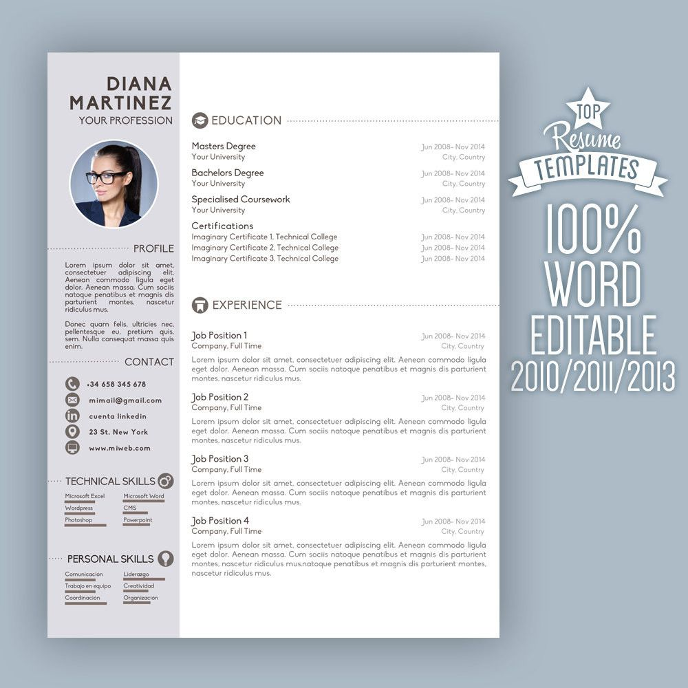 2 Page Resume Format Resume Template Desing  Cover Letter 2 Page Cv A4 & Usa Letter