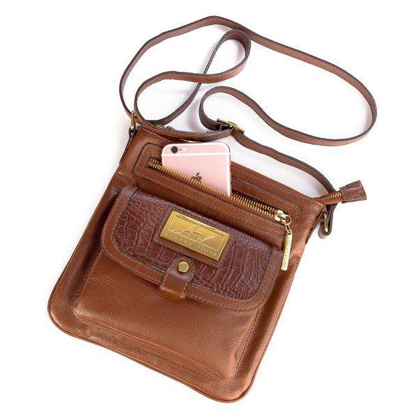 c71f6b776 Bolsa Pequena Tiracolo Anny em couro legítimo whisky | Mas bolsos ...