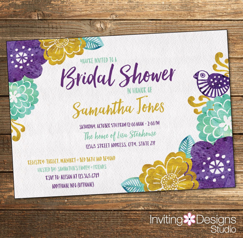 Bridal Shower Invitation, Watercolor, Wedding Shower, Gold, Mint, Aqua, Purple, Bird, Garden, Art (PRINTABLE FILE) by InvitingDesignStudio on Etsy