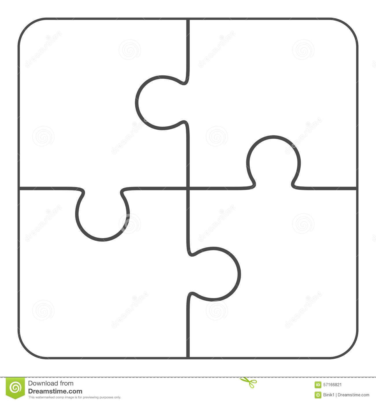 Jigsaw Puzzle Blank 2x2 Four Pieces Stock Illustration With Blank Jigsaw Piece Template Professional T Puzzle Piece Template Templates Printable Free Puzzle