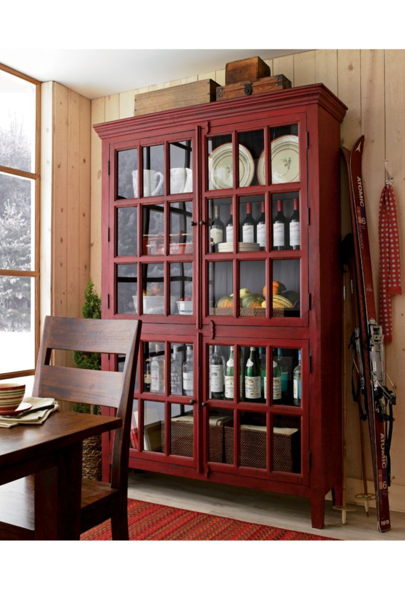 Tall Red Divided Cabinet With Four Paned Glass Doors Family Room