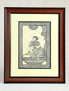 Buy Black Brown Framed Sitting Woman Pattachitra Painting on Silk 15in x 12in 0.6in Art Decorative Folk Picture Perfect Handmade Indian Traditional Paintings Online at Jaypore.com