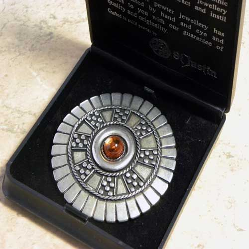 Amazing Boxed Cartwheel Pewter Jewellery Brooch By St Justin With Amber Large Pewter  Brooch With A Real Amber Center From The Designer St Justin Of Cornwall
