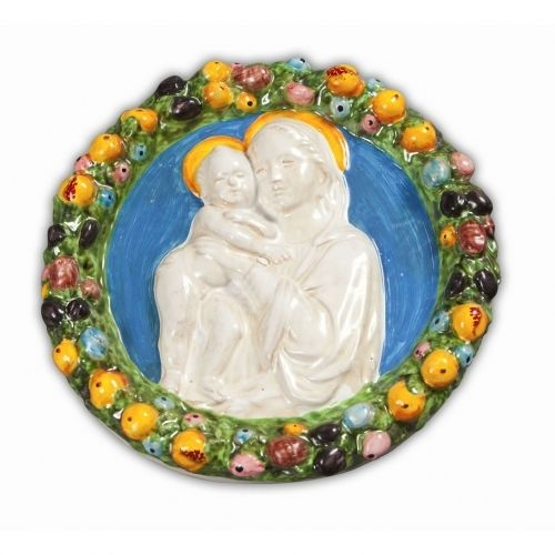 Ornato Della Robbia - A simple and elegant ceramic Della Robbia inspired by the famous works of Lucca della Robbia of 14th Century Florence. Features the Madonna and Child encircled by a wreath of fruit. Beautifully handmade and hand painted in Tuscany, sold at the Italian Pottery Outlet in Santa Barbara, CA.
