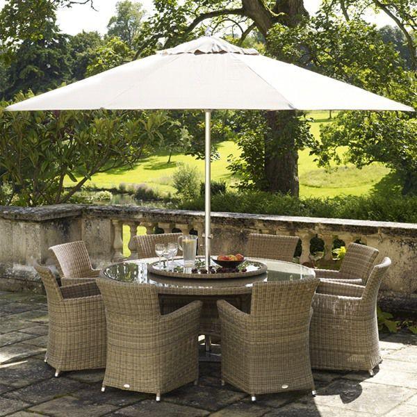 Bramblecrest Sahara 8 Seat Round Rattan Garden Furniture Set   Terrazas