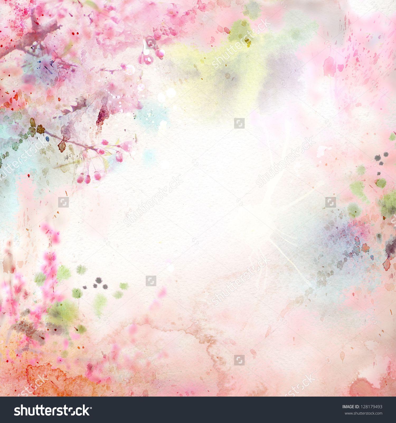 Scenic Watercolor Background Floral Composition Sakura