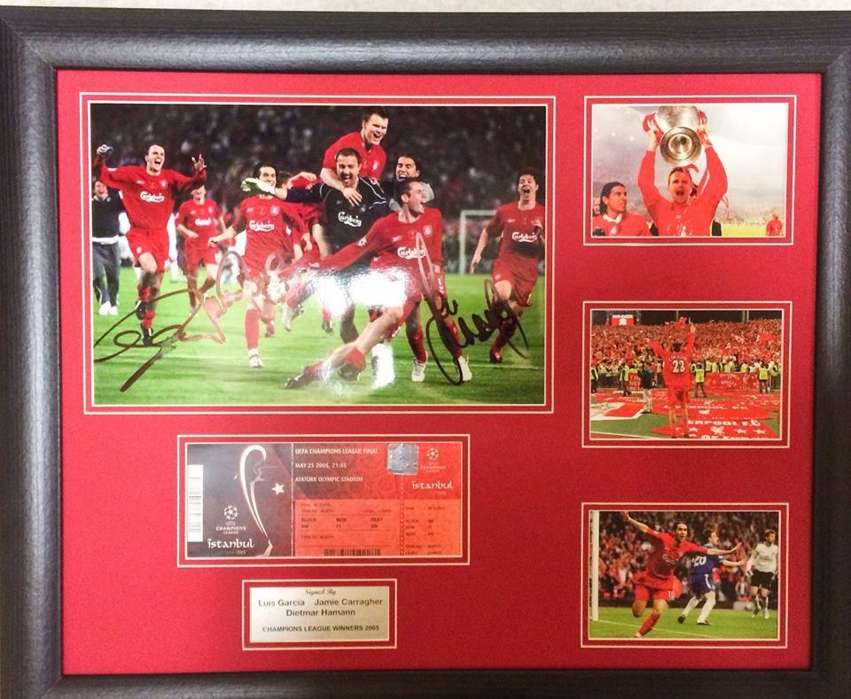 Signed by Jamie Carragher,Didi Hamman and Luis Garcia £90