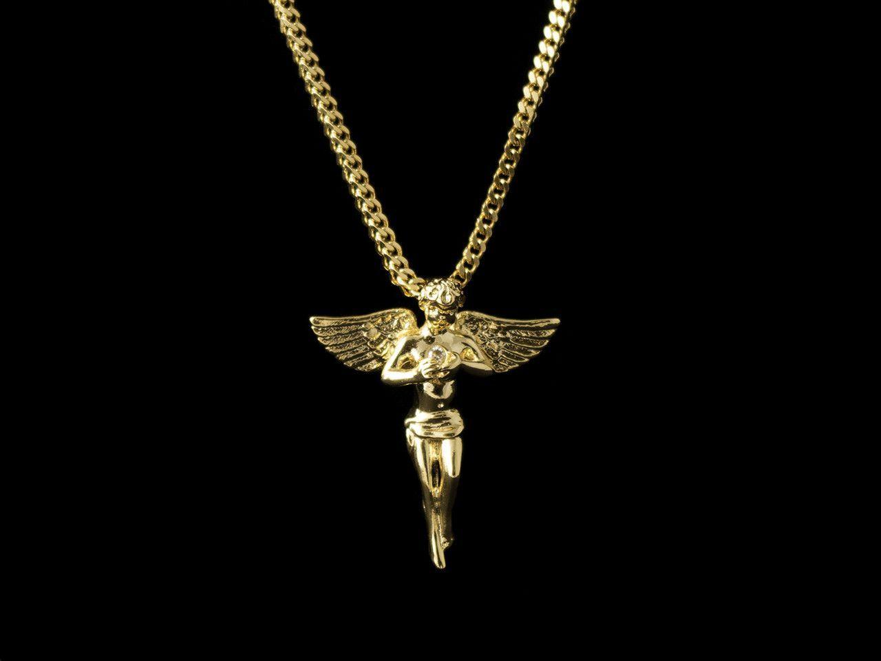 K gold cz inset angel pendant gold chain for men pinterest