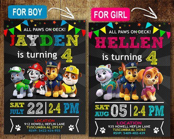 Paw Patrol Birthday Invitation Invitations Party DIY
