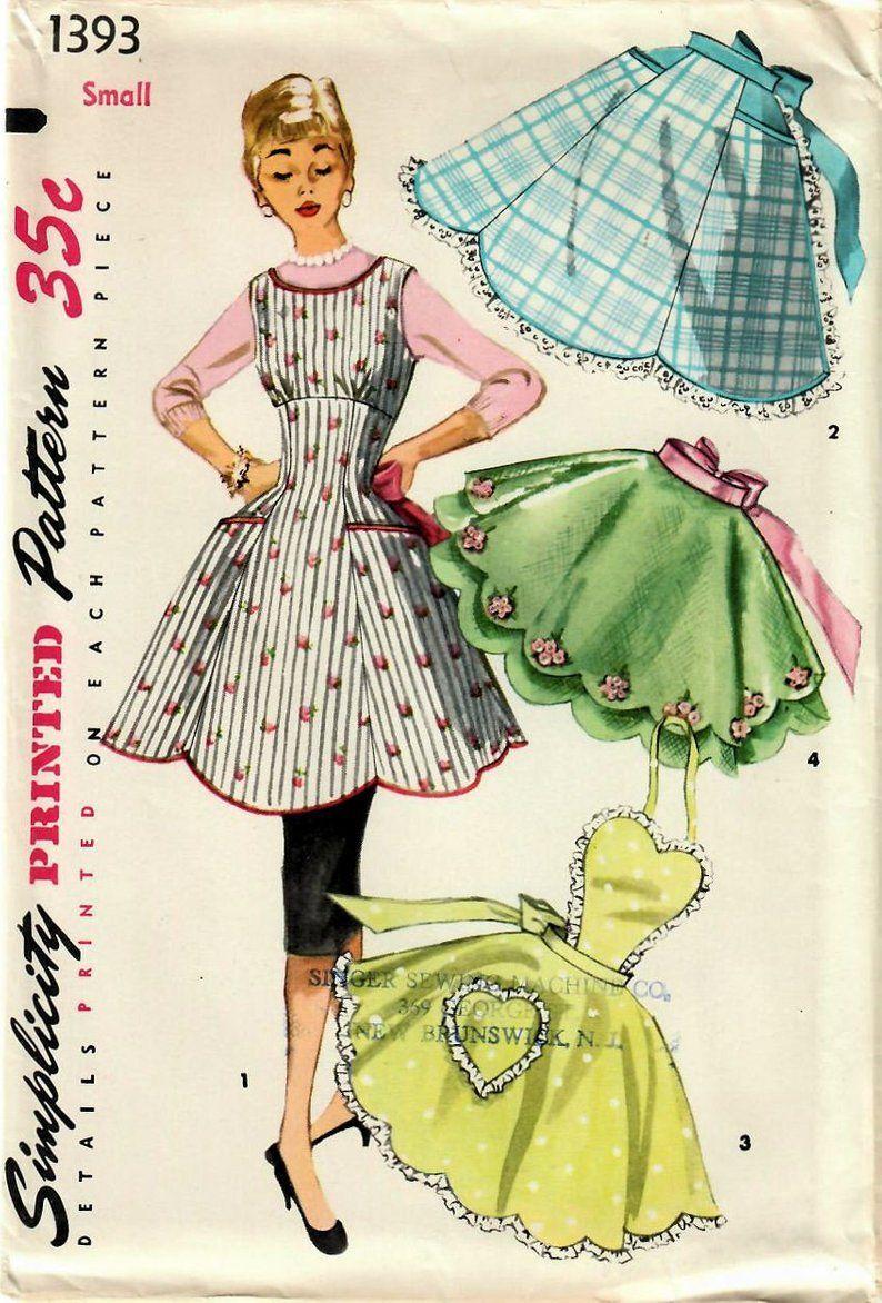 des années 1950 simplicité 1393 non-coupe Vintage couture ...