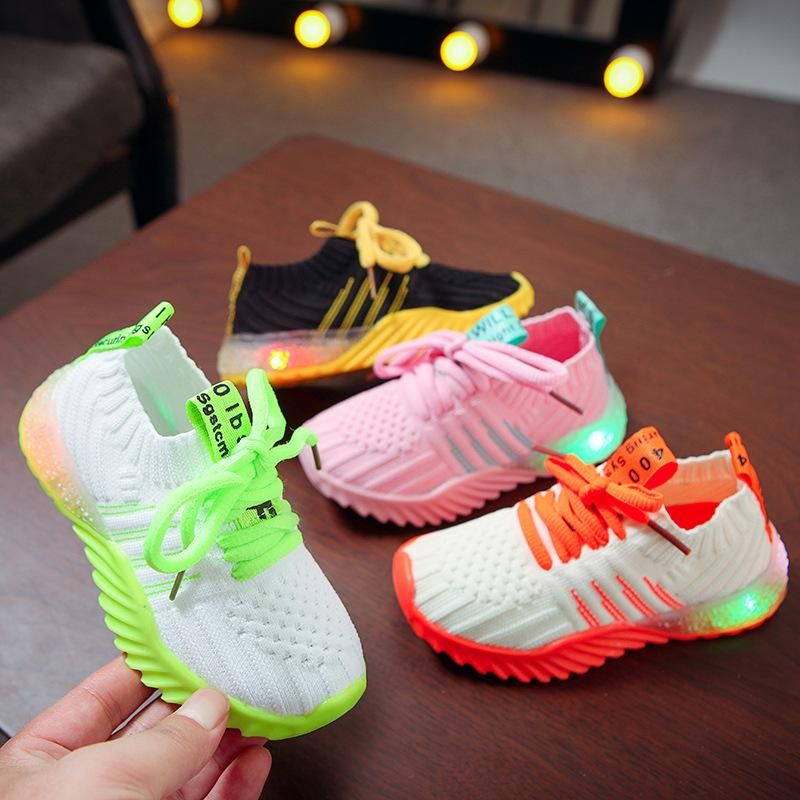 LED Candy Color Knitted Sneakers