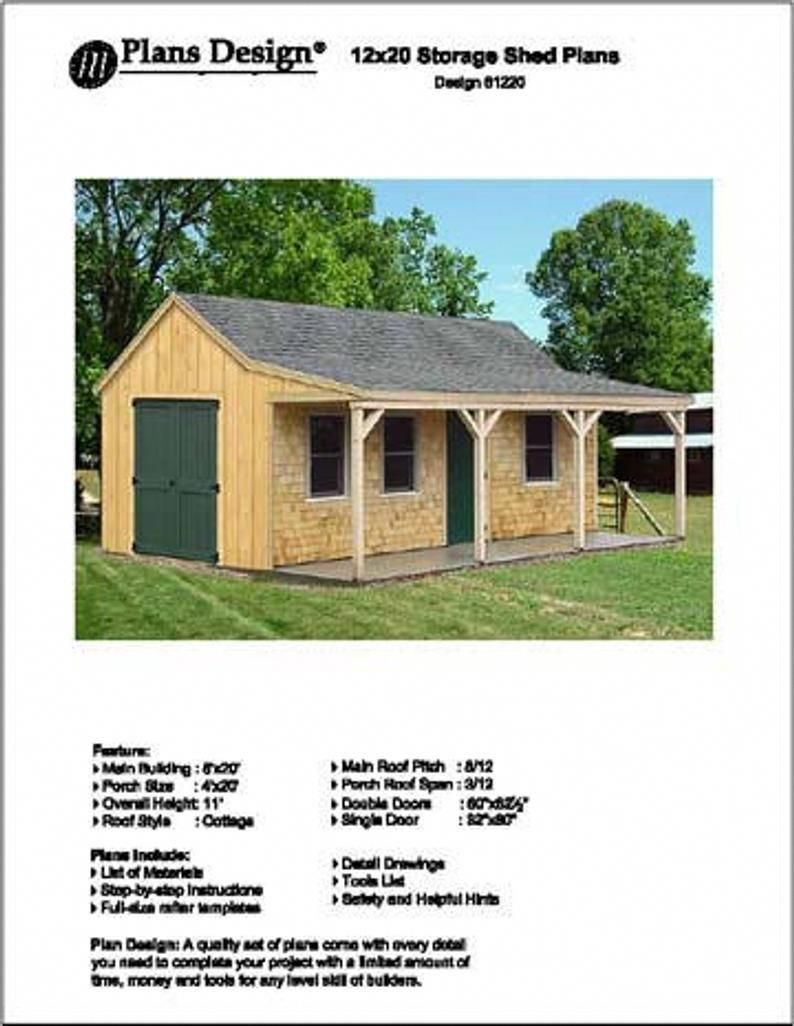 12 X 20 Building Cottage Shed With Porch Plans Etsy Shed With Porch Shed Plans Building A Shed