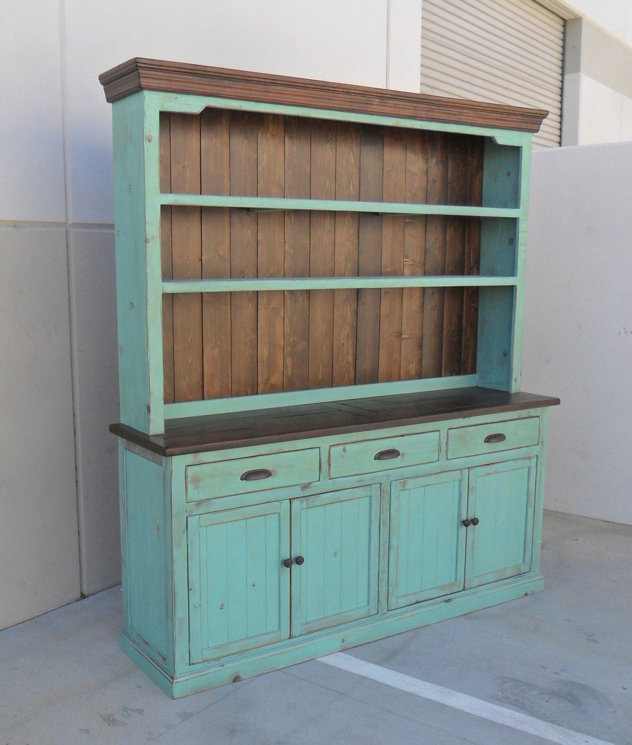 Hutch and buffet sideboard server reclaimed wood china cabinet rustic