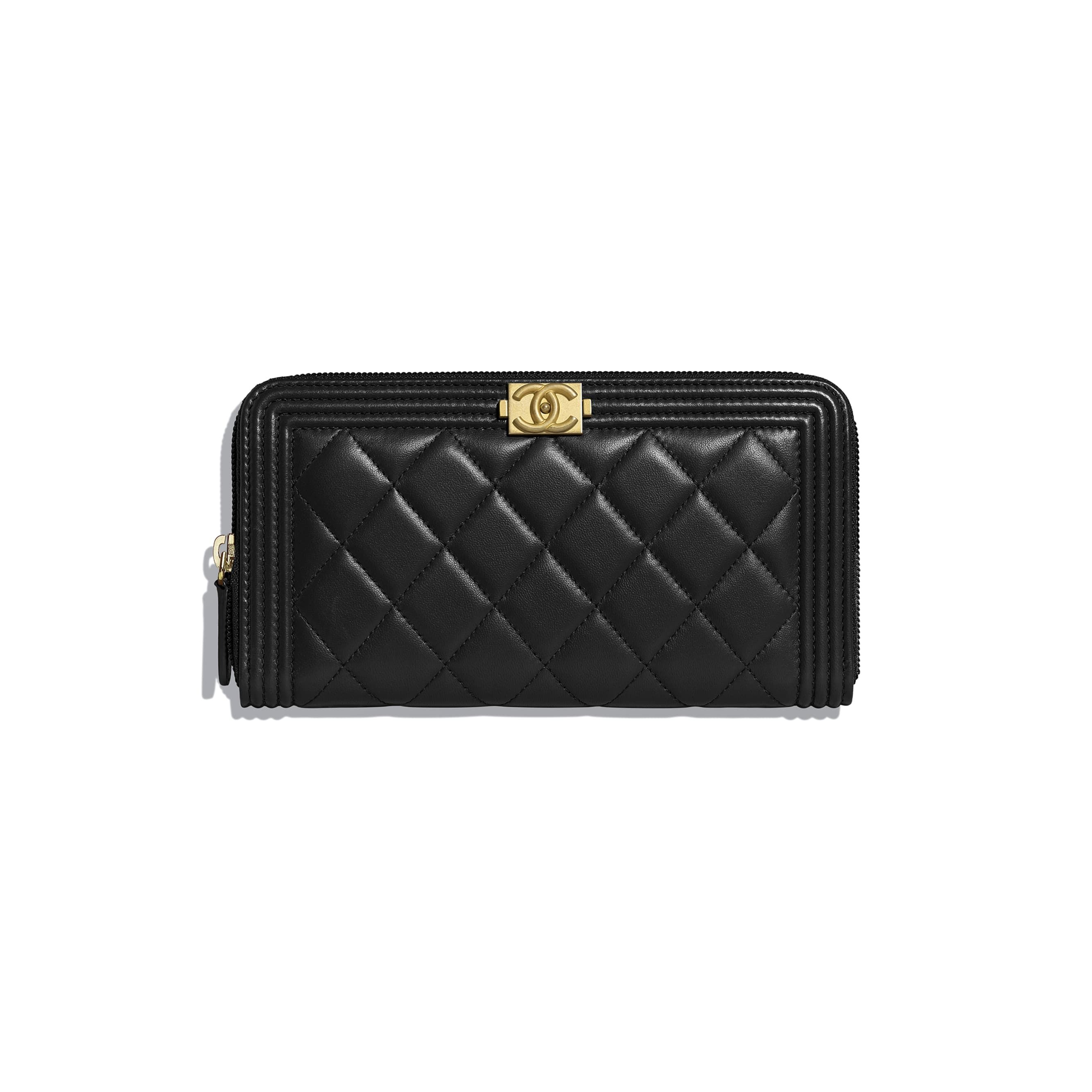 900cde520c Lambskin & Gold-Tone Metal Black BOY CHANEL Long Zipped Wallet ...
