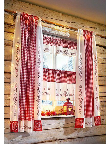 Hossner Gardinen Serie Rot Weiss Im Heine Online Shop Kaufen Vorhange Landhausstil Landhausstil Haus Deko