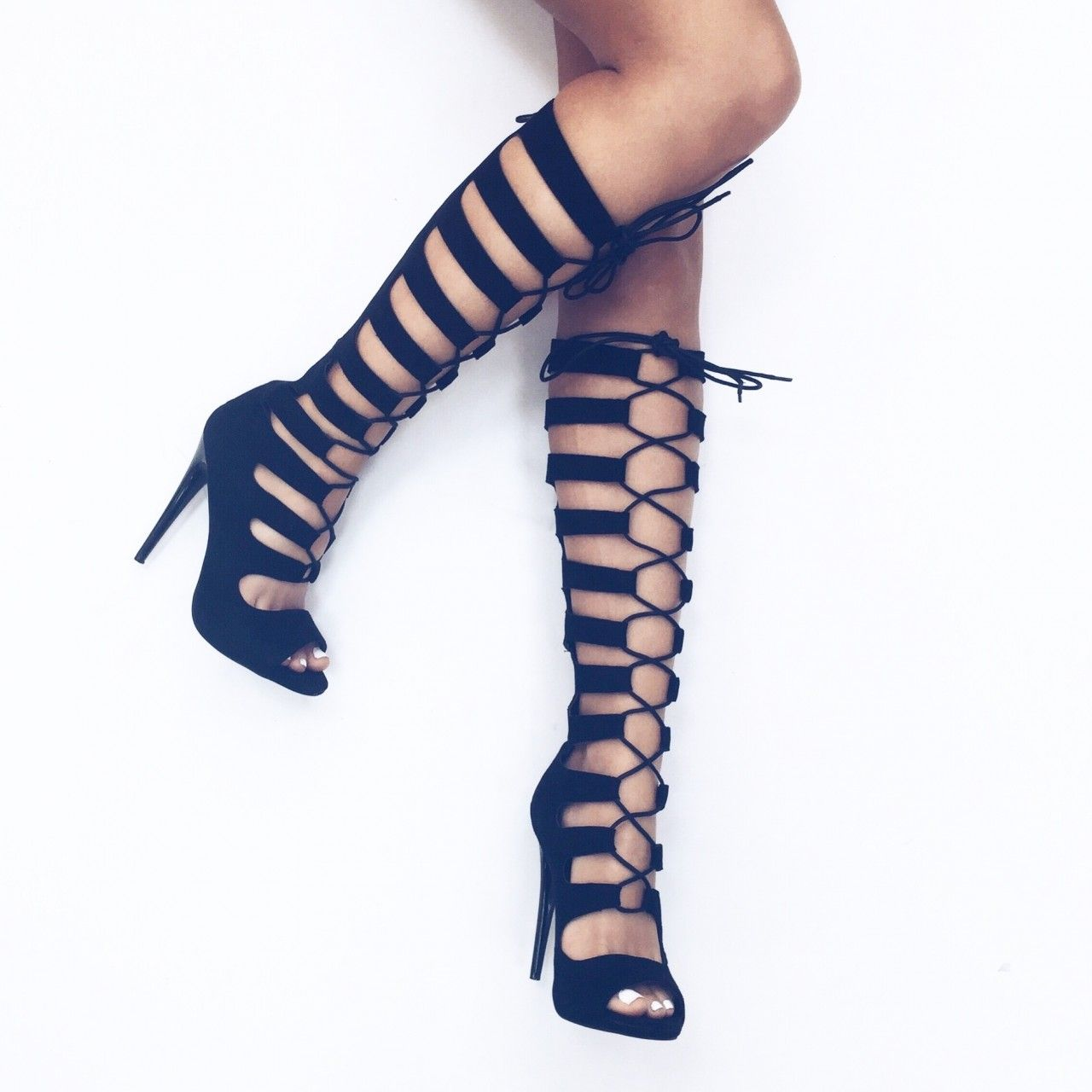 Suede Knee High Lace Up Gladiator Heels - AX Paris | Ax Paris ...