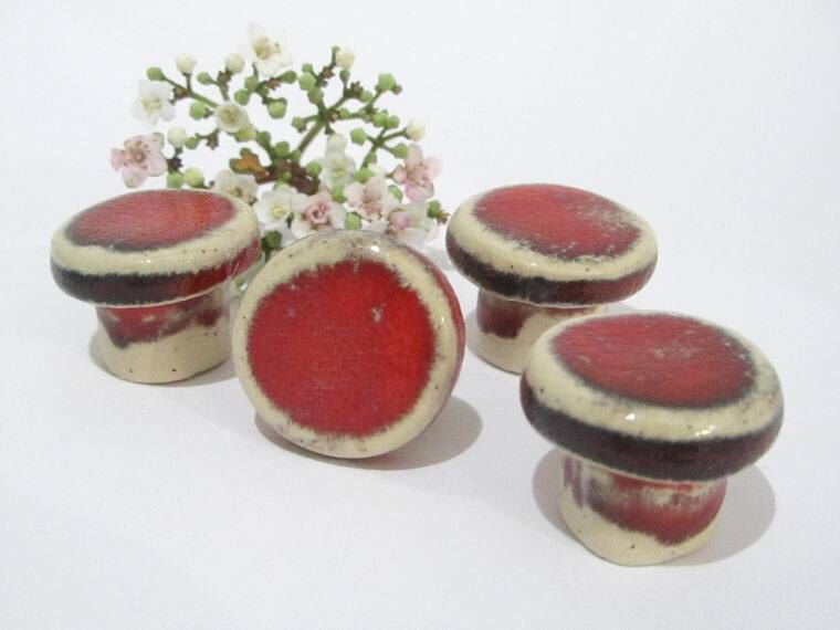 Knobs, Red Cabinet Knobs, Handmade Ceramic Door Knobs, Small Round ...