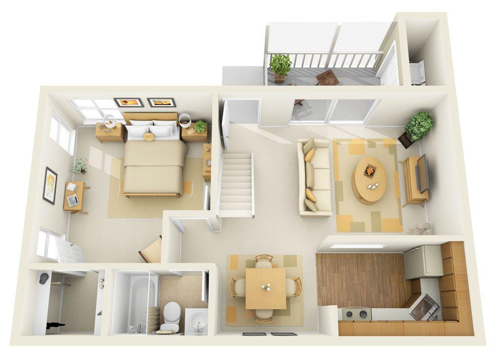 1b 1st Floor Townhome 3d Floor Plan One Bedroom House House Plans Floor Plan Design