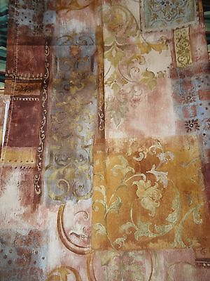 New GOLD RUST BLUE BROWN Swirls Floral Scrolls GEO Fabric SHOWER CURTAIN