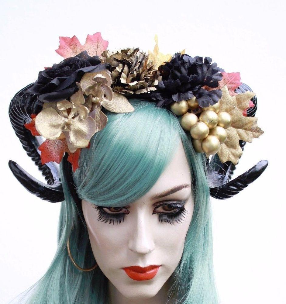 Black Gold Gothic Bacchus Sheep Horn Pan Fawn Flower Crown Headband