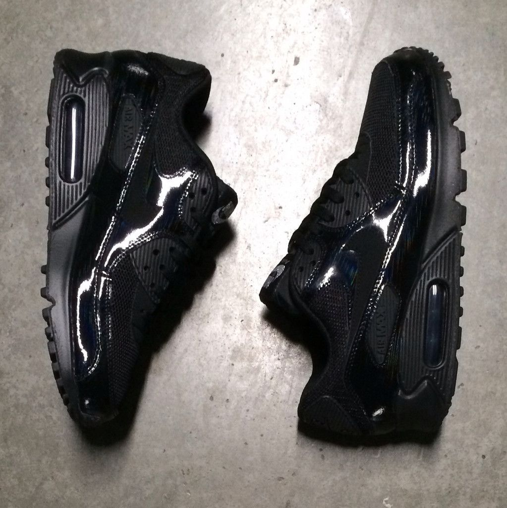 b4ebcc8789 Women s Nike Air Max 90 Premium  Black Metallic Silver