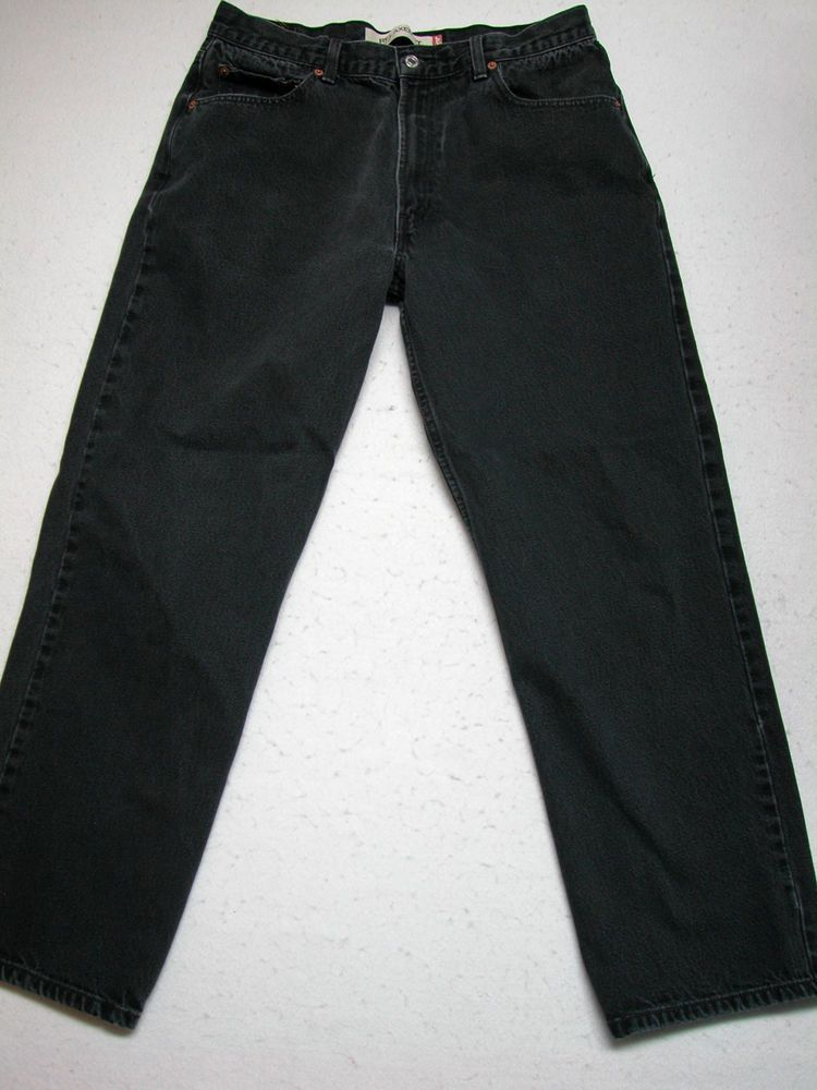 LEVIS 550 36X32 Black Charcoal Relaxed Fit Men's Jeans ( measure ...