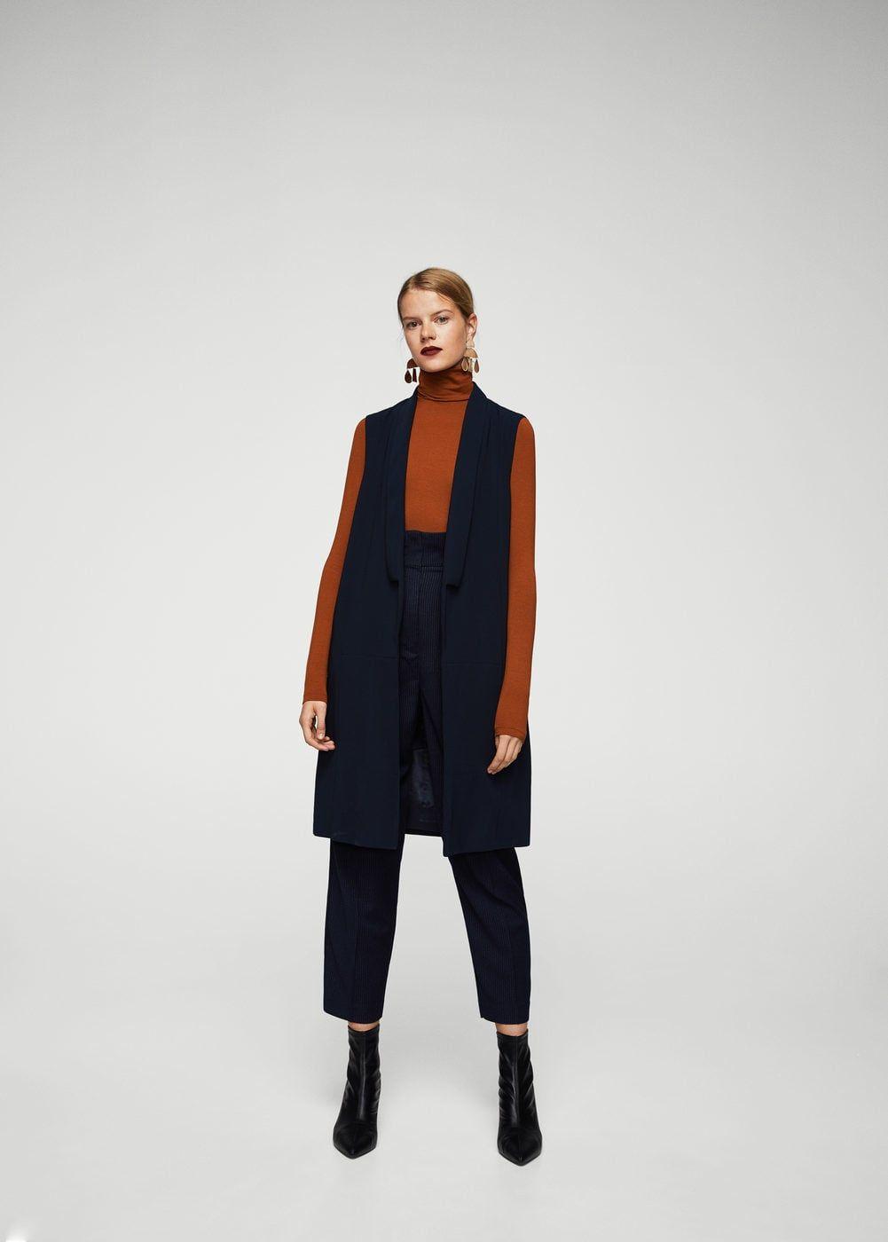 Mango Sleeveless Blazer Outfit Workwear Fashion Long Vest Outfit