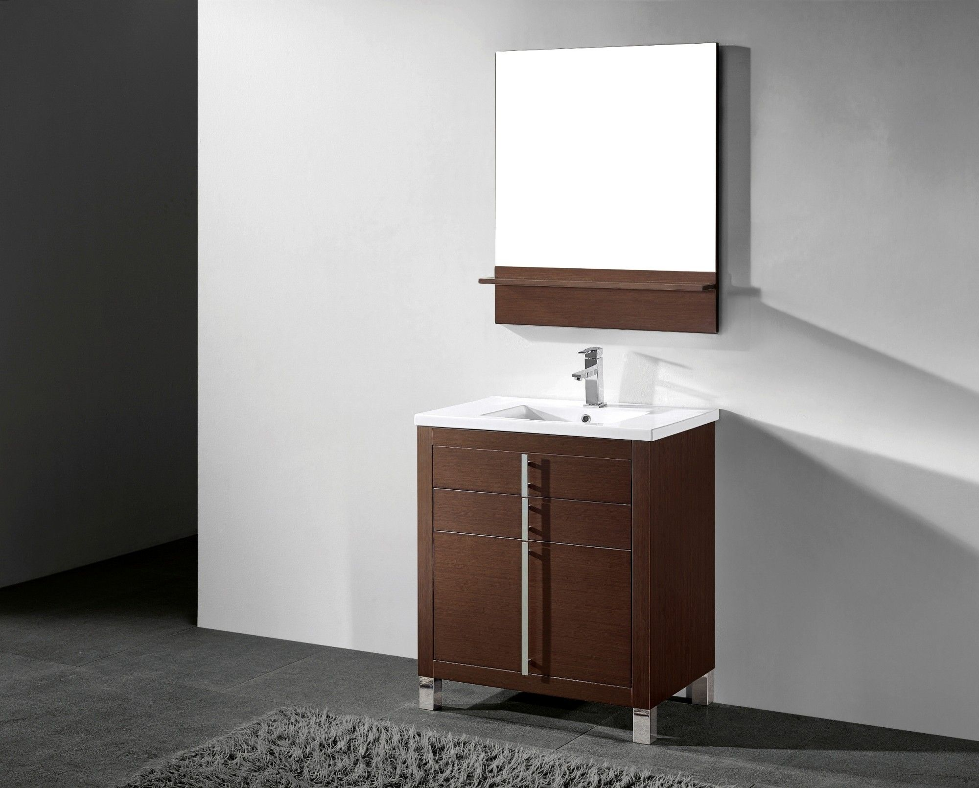 . BT Adornus Turin 30 Inch Modern Bathroom Vanity Set   Walnut