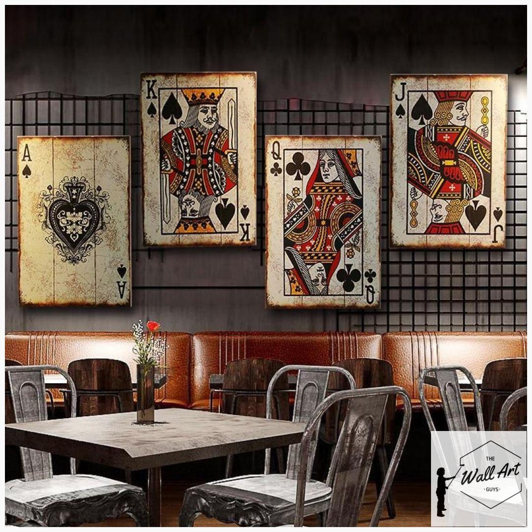 Panneau en bois rétro d'Ace, roi, reine, Jack et Joker   – Game Room Wall Decor