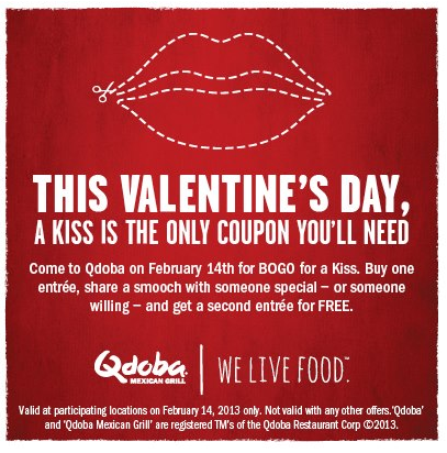 photograph relating to Qdoba Printable Coupons referred to as Minute entree totally free with a kiss Thursday at Qdoba coupon as a result of