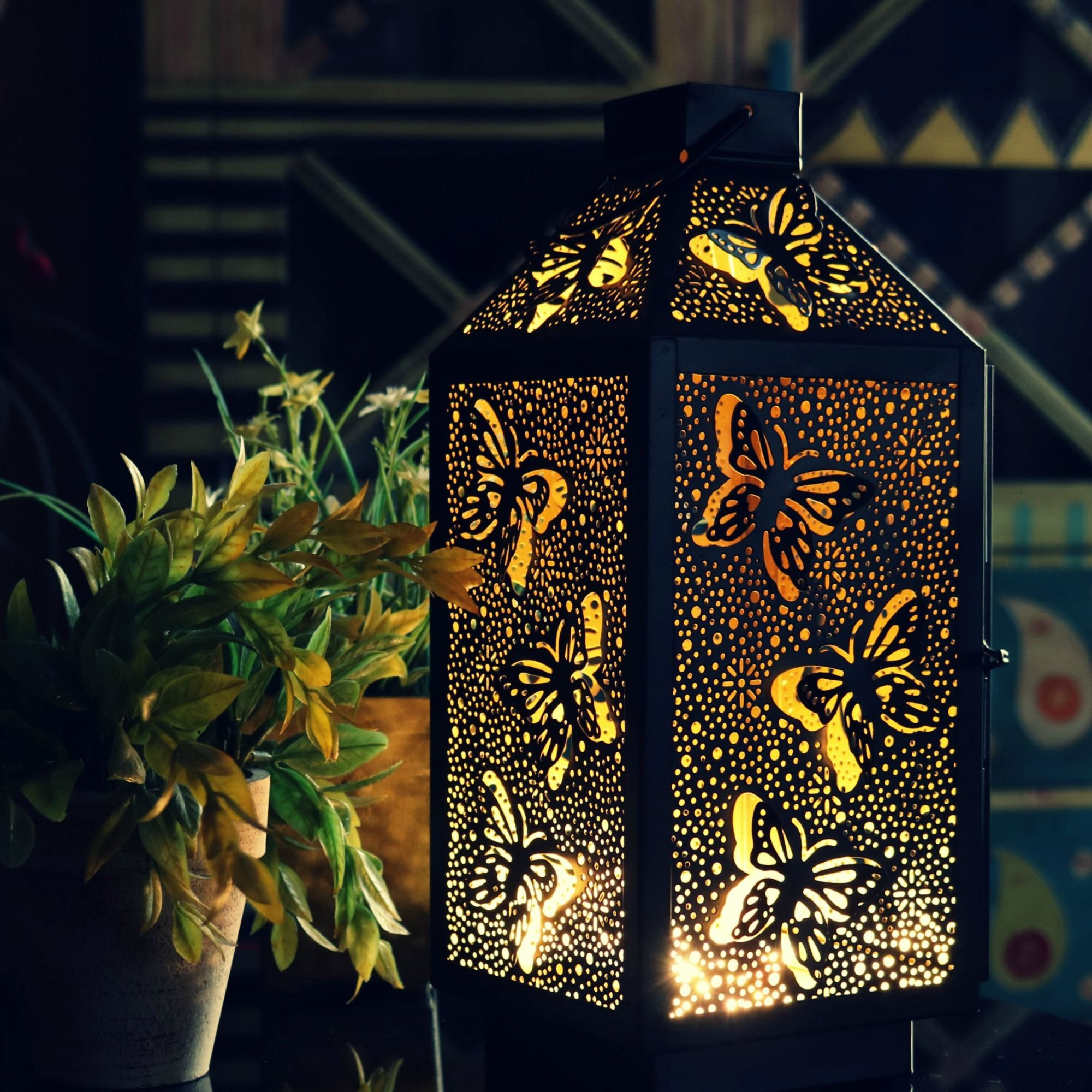New Iron Butterfly Tealight Candle Holder Room Garden Yard Decor