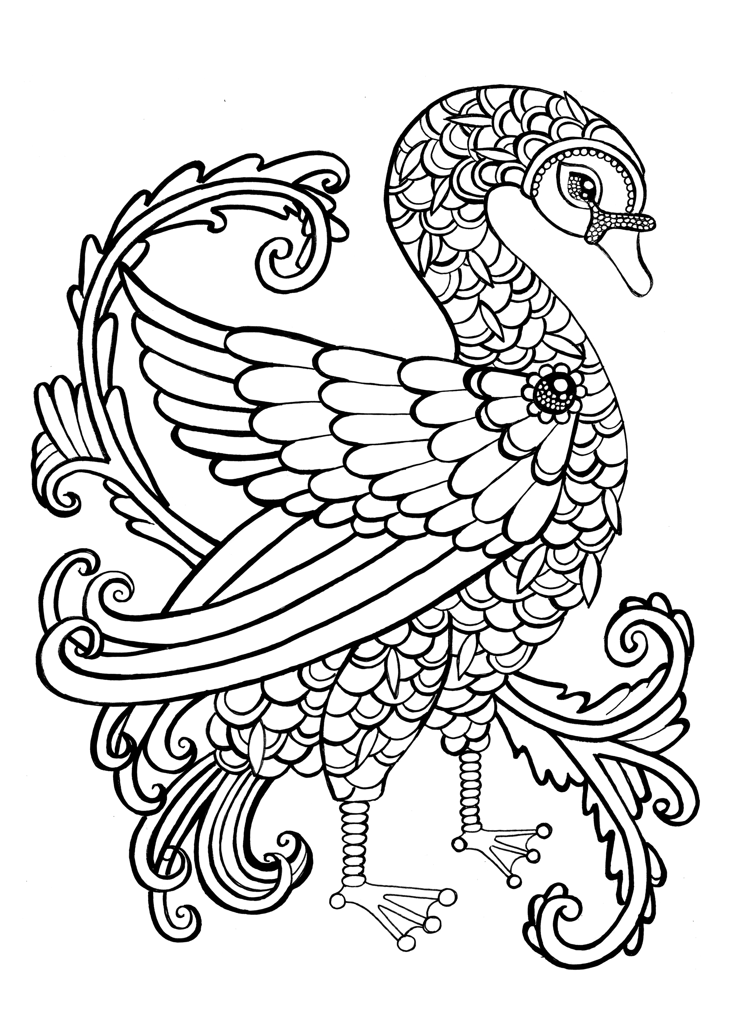 this is a page from my 52 page colouring book WINGS & THINGS which ...