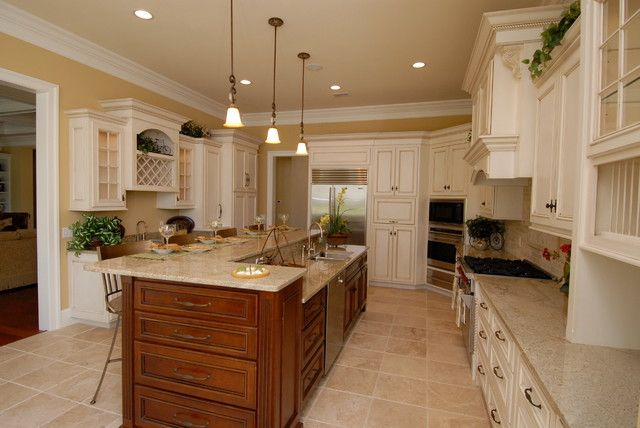 Antique White Cabinets Warm Brown Island Yellow Walls Antique Kitchen Cabinetsglazed