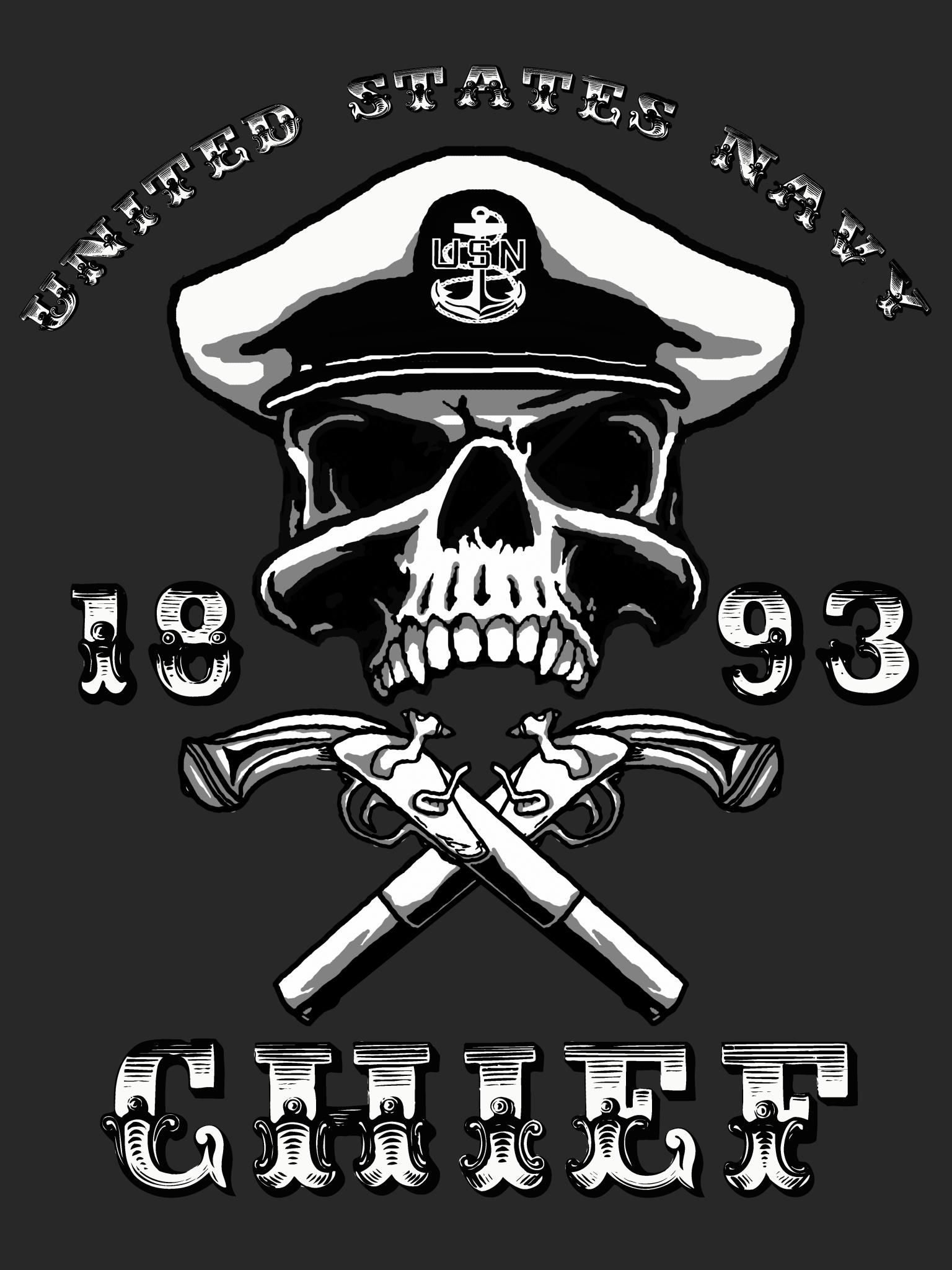 quotnavy senior chief skull and crossbonesquot color vinyl