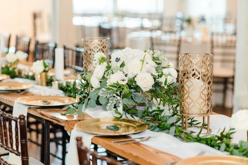 Brik Venue Fort Worth Texas Shannon Rose Events Katie Hewitt Photography Vow Ci Emerald Wedding Decor Gold Wedding Decorations Rose Gold Wedding Decor