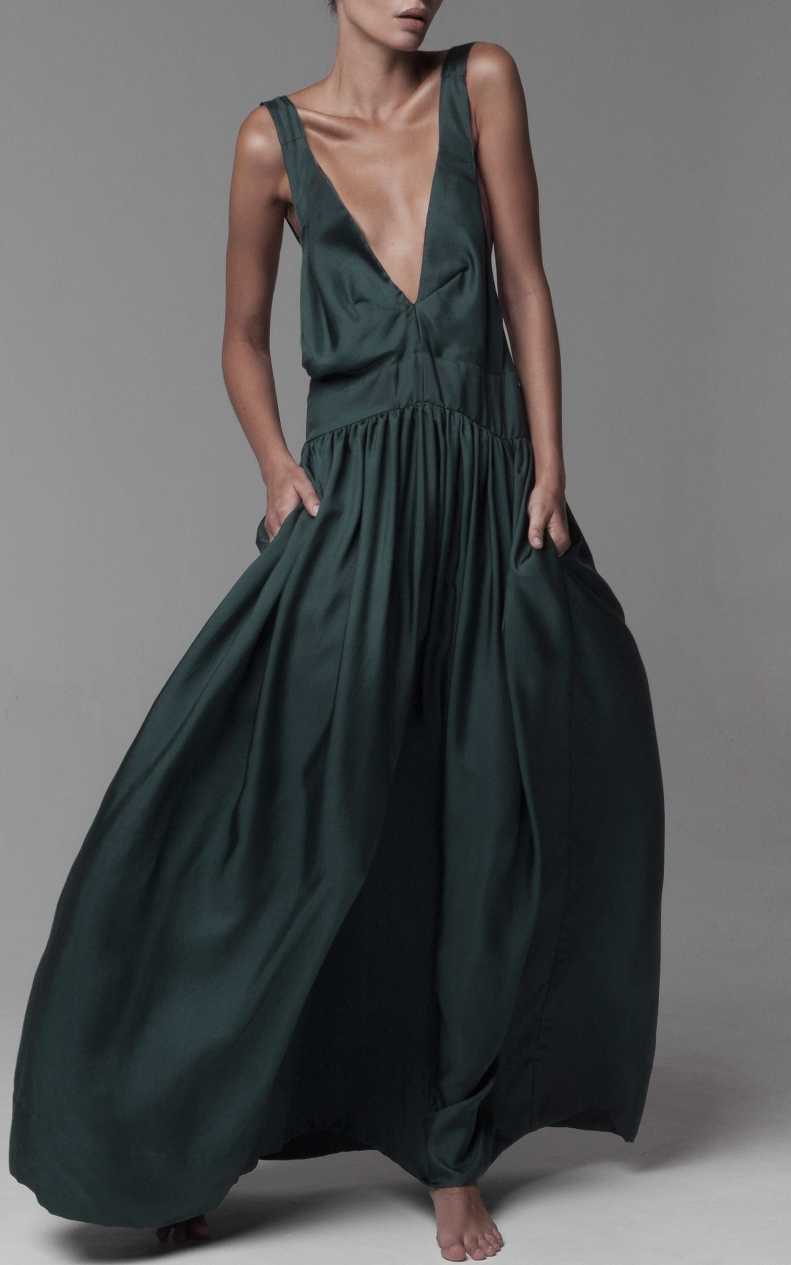 Zephyr Pinafore Silk Twill Dress by KALITA Now Available on Moda Operandi