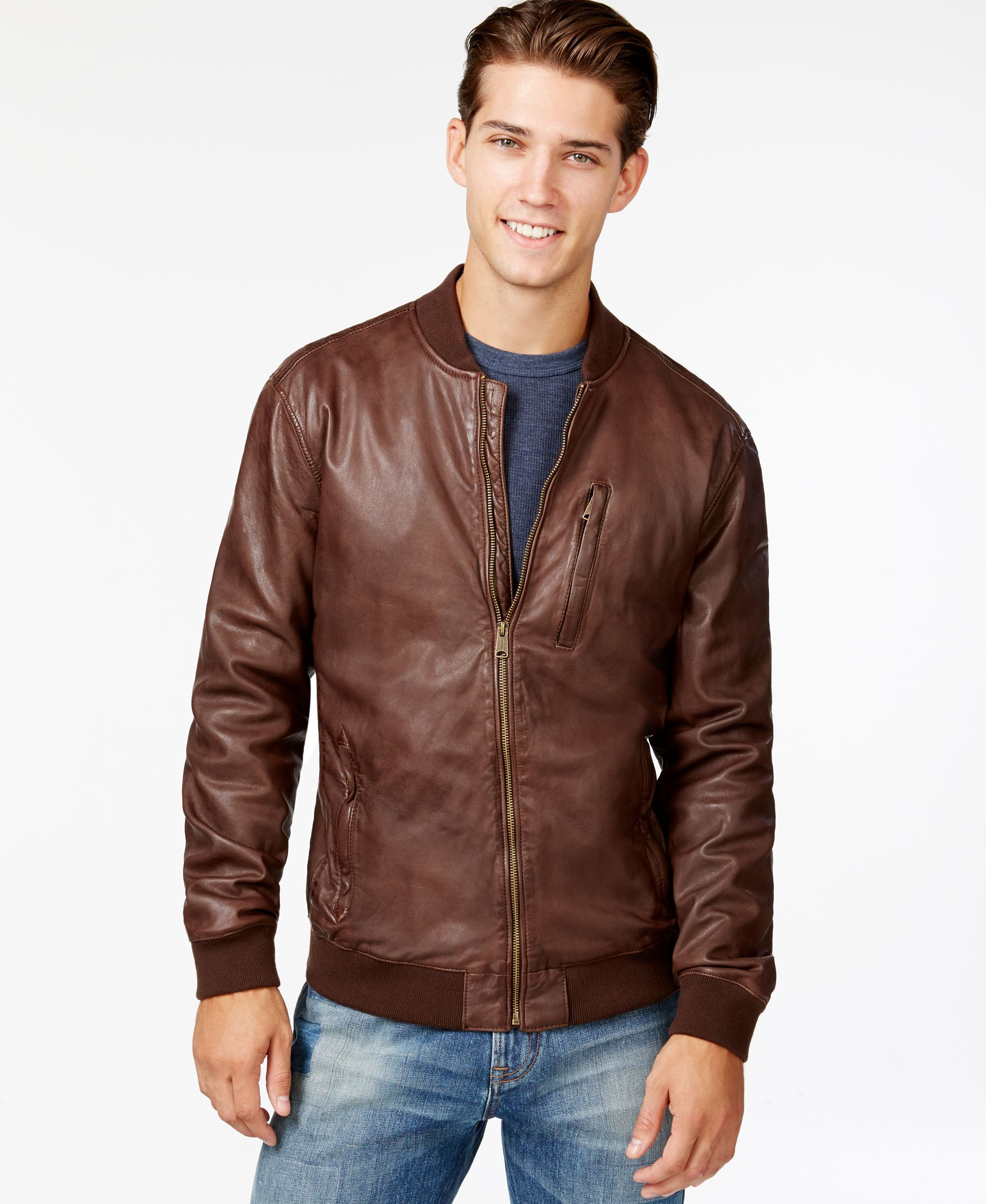 Lucky Brand Leather Bomber Jacket Products Pinterest Bomber